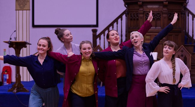 The Imagination Museum: Mayflower 400 at Gainsborough United Reformed Church; performers (L-R) Emma Bouch, Amy O'Sullivan, Lucy Starkey, Sarah Blanc, Megan Griffiths, Alice Shepperson; photographer Jon Rogers