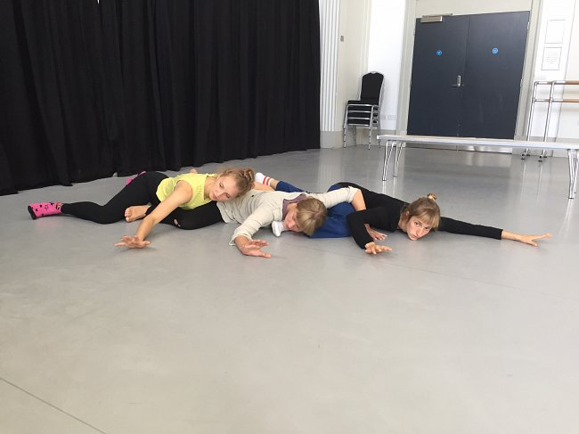 Photo Katie Green; taken during Dancing in Caves R&D at Pavilion Dance South West; dancers Kirsty Arnold, Kate Cox and Lucy Starkey