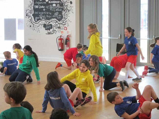 Photo Emma McFarland; children rehearsing for Tudor-themed performance